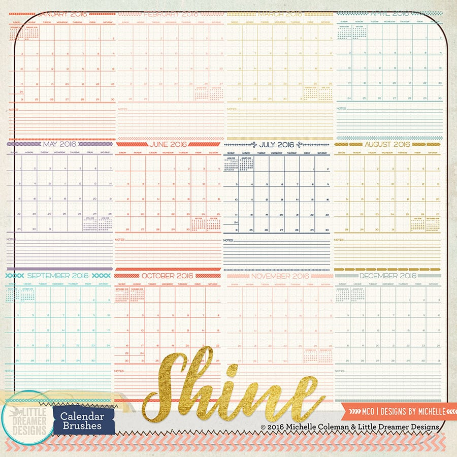 Shine Calendar Brushes